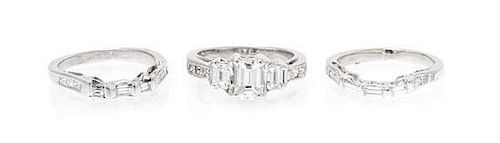 A 14 Karat White Gold and Diamond Ring, 7.20 dwts.