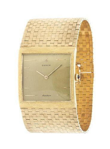A Yellow Gold Bracelet Wristwatch, 82.45 dwts.
