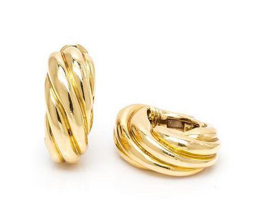 A Pair of 18 Karat Yellow Gold Earclips, 17.80 dwts.