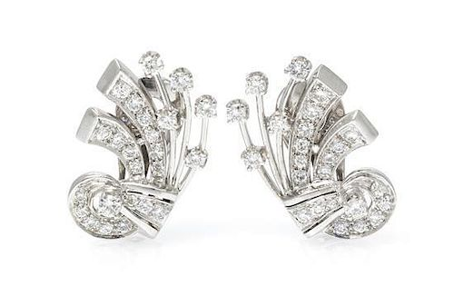 A Pair of Platinum and Diamond Earclips, 7.80 dwts.