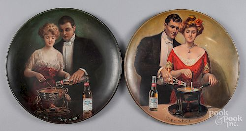 Pair of Budweiser tin lithograph chargers