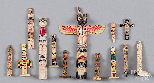 Ten Northwest Coast Miniature Carved Totem Poles By Pook Pook Inc 1082158 Bidsquare