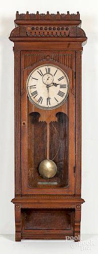 Wm. Gilbert Victorian walnut regulator wall clock
