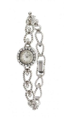 A Vintage 18 Karat White Gold and Diamond Wristwatch, Jaeger LeCoultre, 19.10 dwts.