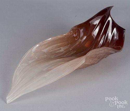 Nikolas Weinstein art glass centerpiece leaf bowl