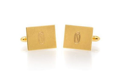* A Pair of 14 Karat Yellow Gold Cufflinks. 7.15 dwts.