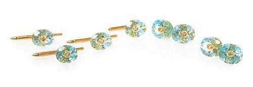 * An 18 Karat Yellow Gold, Blue Topaz and Diamond Dress Set, 9.00 dwts.