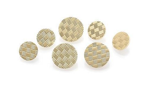 * A Collection of 14 Karat Yellow Gold Buttons, 26.40 dwts.