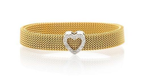 * An 18 Karat Gold and Diamond Mesh Bracelet, 11.20 dwts.