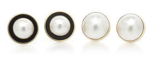 A Group of 14 Karat Yellow Gold and Mabe Pearl Earclips, 19.40 dwts.