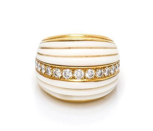 A Yellow Gold, White Coral and Diamond Ring, 11.80 dwts.