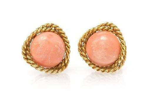 * A Pair of 18 Karat Yellow Gold and Coral Earclips, Cellino, 13.10 dwts.