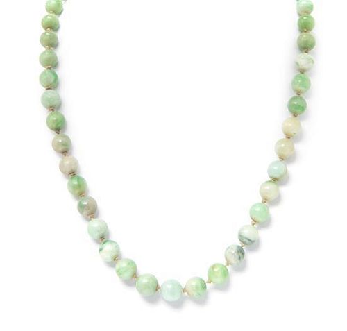 A Single Strand Graduated Jade Bead Necklace,