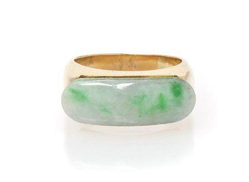 A 14 Karat Yellow Gold and Jade Ring, 3.85 dwts.