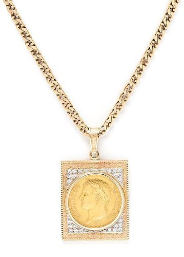 * A 14 Karat Yellow Gold, Diamond and French Napoleon Gold Coin Pendant Necklace, 35.40 dwts.