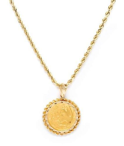 A 14 Karat Yellow Gold and Chinese Panda Gold Coin Pendant Necklace, 21.80 dwts.
