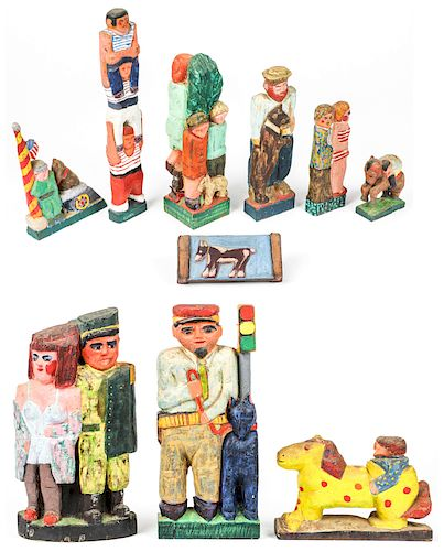Fred Gerber (20th c.) 10 Carved Wood Sculptures