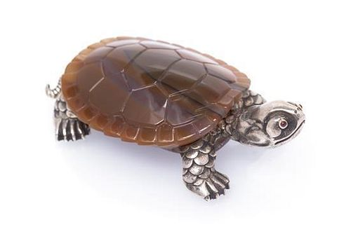 * A Silver and Agate Turtle Figurine, Russian, 39.90 dwts.