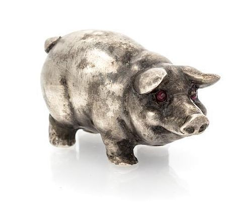 * A Silver Pig Figurine, Russian, 77.40 dwts.