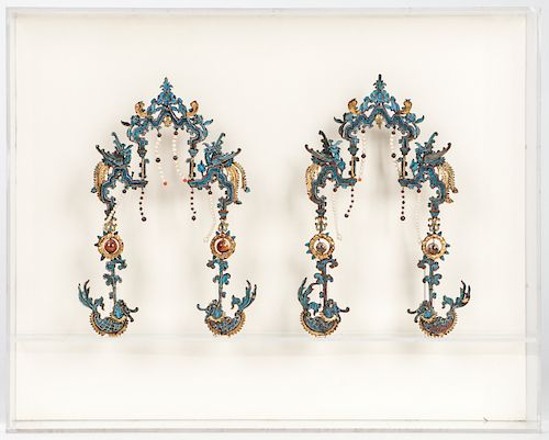 Pair of Chinese Kingfisher Headdresses, Qing D
