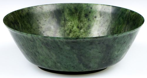 Antique Chinese Carved Green Spinach Jade Bowl