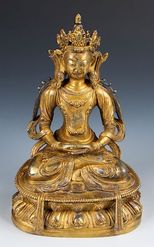 Antique Sino-Tibetan Gilt Bronze Buddha