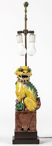 Antique Chinese Foo Lion Lamp