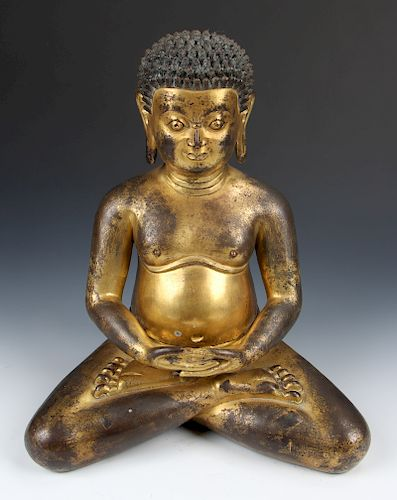 Large Antique Sino-Tibetan Gilt Bronze Buddha