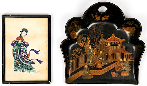 Chinese Pith Painting and Lacquer Painted Wood Tray