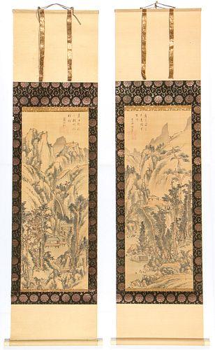 Pair of Japanese Landscape Scroll Paintings