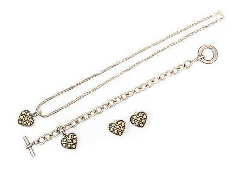A Collection of Sterling Silver and 18 Karat Yellow Gold Caviar Jewelry, Steven Lagos, 36.70 dwts.