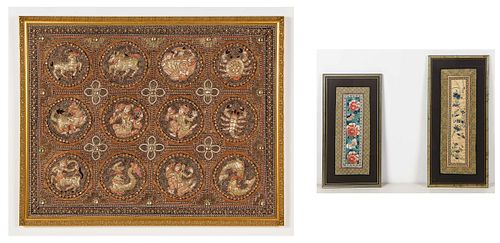 Thai Framed Needlework and 2 Framed Chinese Silk Embroideries