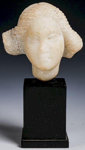 Roman White Marble Head of a Young Woman