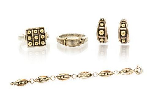 A Collection of Sterling Silver and 18 Karat Yellow Gold Jewelry, 36.80 dwts.