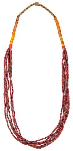 Naga Burgundy Whiteheart Glass Bead Necklace, Early 20th C., India