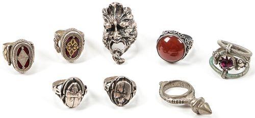 8 Silver Rings