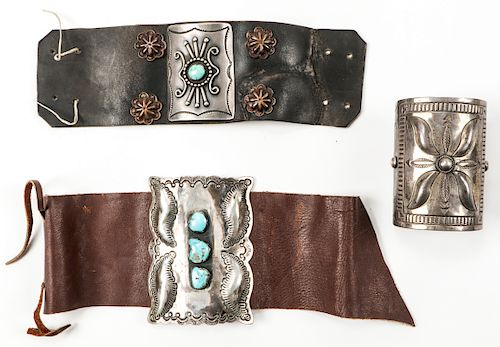3 Silver and Leather Bracelets, One Marked R. Platero