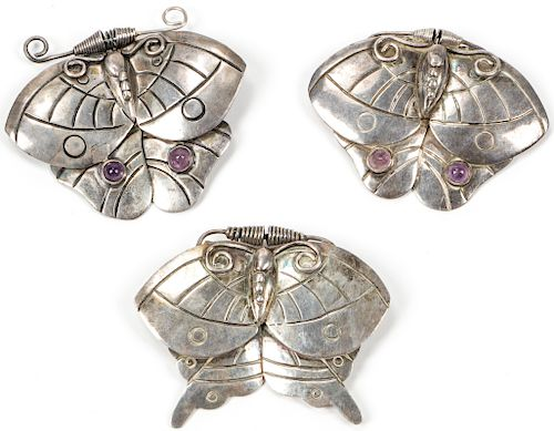 William Spratling (1900-1967) 3 Sterling Silver Sterling Butterfly Pins