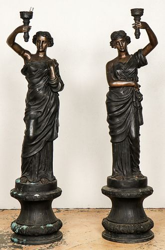 Pair of Life-Size Bronze Statues: Woman with Torch on Pedestal