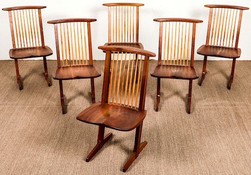 George Nakashima (1905-1990) Set of 6 Conoid Chairs