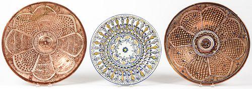 3 Hispano-Moresque Ceramic Chargers