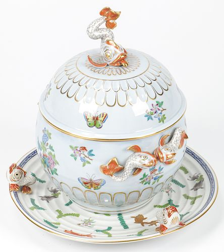 Herend Hungary Porcelain Covered Soup Tureen and  Tray