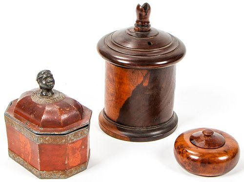 3 Antique Lidded Tobacco Boxes