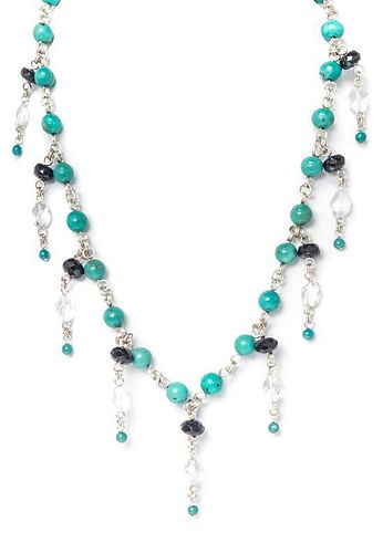 A Collection of Sterling Silver, Turquoise, Onyx and Rock Crystal Jewelry, 84.20 dwts.