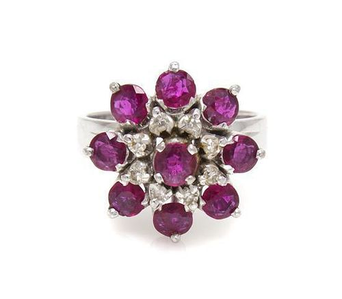 A White Gold, Ruby and Diamond Ring, 4.80 dwts.