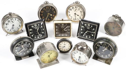 Collection of 12 Vintage Alarm Clocks