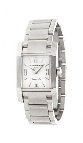 A Stainless Steel Diamante Wristwatch, Baume & Mercier for Tiffany & Co.,