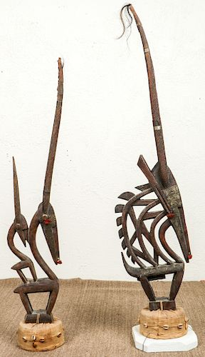 2 Chiwara Headdresses, Bamana/Bambara Peoples, Mali