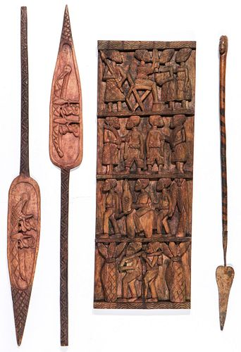 Vintage Carved African Relief Panel & 3 Paddles