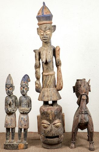 4 Vintage African Carved Wood Tribal Style Figural Forms